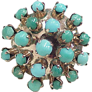 Vintage Persian Turquoise Ring 14K Gold Circa 1960's, Domed Top