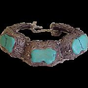 Art Deco Persian Turquoise Sterling Silver Filigree Domed Panel Bracelet
