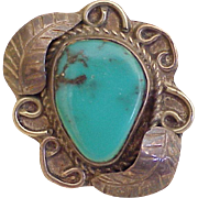 Vintage Native American Crafted Ring Sterling Silver & Turquoise circa 1970's