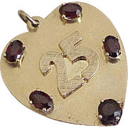 BIG Jeweled Heart 25th Anniversary Charm 14K Gold circa 1947
