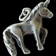 Unicorn Charm Three-Dimensional Sterling Silver circa 1960's