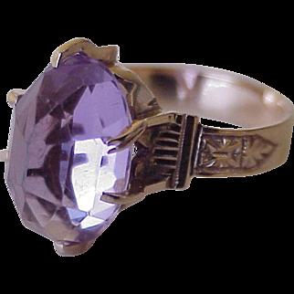 Victorian Era Amethyst Solitaire Ring 10K Rose Gold