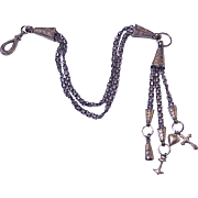 Edwardian Vest Chain, Watch Chain & Fob Charms Sterling Silver & 10K Gold