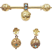 Victorian Etruscan Earring & Brooch Set 18K Gold Persian Turquoise