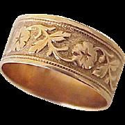 Victorian Era Wide Floral Band Ring 10K Rose Gold