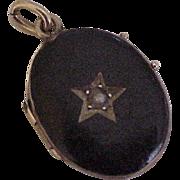 Victorian Era Mourning Locket 10K Gold Sterling Silver Black Enamel & Seed Pearl