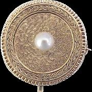 Victorian Era Watch or Locket Pin 14k Gold & Pearl