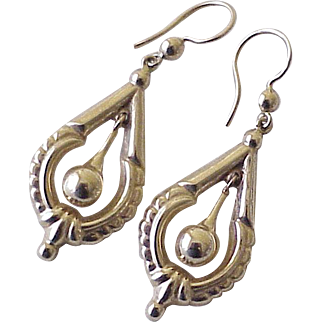 Victorian Revival Etruscan Long Dangle Earrings 14K Gold Circa 1940-50's