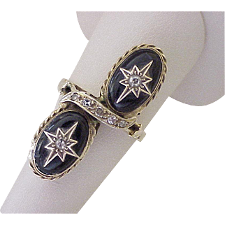 Victorian Revival Ring From Victorian Era Earrings 14K Gold Jet & Diamond