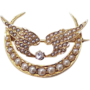 Victorian Era Crescent Moon & Wing Brooch 14K Rose Gold Diamond & Seed Pearl