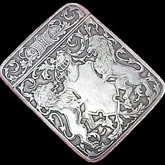 Edwardian Match Safe Vesta Heraldic / Crest Sterling Silver, L Fritschze & Co