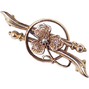 Victorian Era 14k Rose Gold Brooch Pin CLOVER Design Seed Pearl Accent