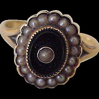 Victorian Era Ring 14K Gold Onyx & Seed Pearl