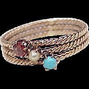 Victorian Gemstone Ring 10k Gold Garnet, Seed Pearl & Persian Turquoise