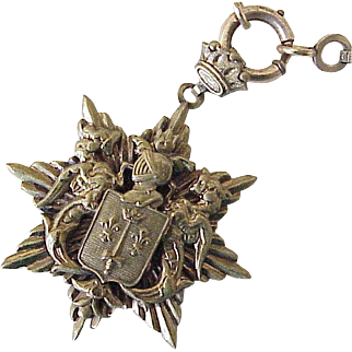 Amazing Coat of Arms Pendant on Ornate Book-Link Necklace, Heraldic Crest