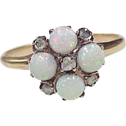 Victorian Opal & Rose Cut Diamond Ring 12k Rose Gold