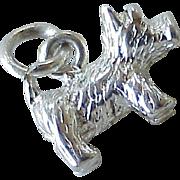 Westie West Highland Terrier Dog Vintage Charm Three-Dimensional Sterling Silver circa 1970's