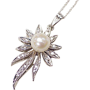Cultured Pearl, Diamond Pendant/Necklace 14K White Gold