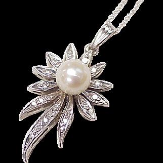 Cultured Pearl, Diamond Pendant/Necklace 14K White Gold