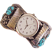 HUGE Sterling Silver & Turquoise Watch / Cuff Bracelet, Native American Crafted