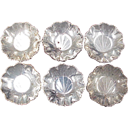 Sterling Silver Individual Nut Dishes Set of 6 by Webster, Lilly Pad