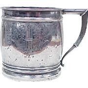 Sterling Silver Tankard Christening / Baby Cup by Whiting, Ornately Engraved, No Mono