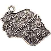 Vintage US State Charm, Wisconsin Sterling Silver Enameled Circa1960's