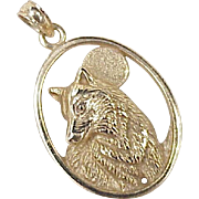 Vintage Animal Charm ~ Wolf in the Moolight 14k Gold Three Dimensional circa 1980's