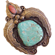 BIG Vintage Raymond Yazzie Navajo Pendant Sterling Silver Turquoise & Coral