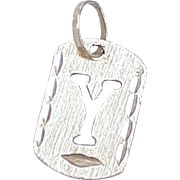 Vintage 18K  Initial Y Charm circa 1980's Dog Tag Style
