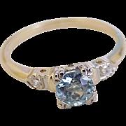 Vintage Ring Natural Blue Zircon 1.25 Carat Diamond Accent 14K Gold