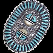 Vintage Native American Zuni BIG Ring Needlepoint Turquoise & Sun Spirit Sterling Silver