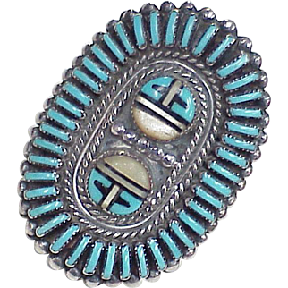 Vintage Native American Zuni BIG Ring Needlepoint Turquoise & Sun Spirit Sterling Silver