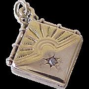 Victorian Locket Fob Charm / Pendant 14K Rose & Yellow Gold Diamond Accent Circa 1870-90's