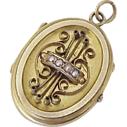 Victorian Etruscan Revival Locket, Gold Filled Seed Pearl Accent