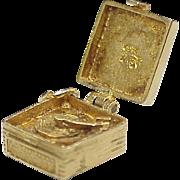 Vintage Portable Record Player Charm European 9K Gold Three Dimensional circa 1950-60's