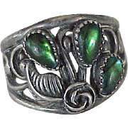 Navajo Crafted Ring Sterling Silver & Ammolite circa 1980's