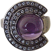 Modernist Amethyst Cabochon Ring Sterling Silver & Faux Diamond