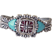 South-West Bracelet Flip/Reverse Design Sterling Silver Turquoise & Coral