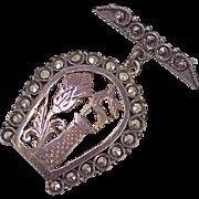 Georgian Brooch ~ Scottish, Hunt Motif, Stag & Thistle Inside Marcasite Encrusted Horseshoe