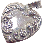 Vintage Sterling Silver Puffy Heart Charm / Pendant Ornate Forget Me Not Floral Accent