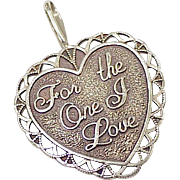 Vintage 14k Gold Romantic Heart Charm ~ For the One I Love, 2 Hearts 1 Life