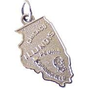 Vintage US State ILLINOIS Charm Sterling Silver