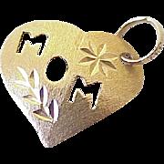 Mom Heart Charm 14k Gold circa 1980's