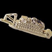 Vintage Moving Paddlewheel Riverboat Charm 14K Gold circa 1950's