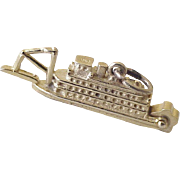Vintage Moving Paddlewheel Riverboat Charm 14K Gold circa 1950's