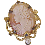 Vintage Cameo Pendant Brooch Gold Filled Jeweled Accent