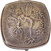 French Djer-Kiss Kissing Fairies Powder Compact Art Nouveau Silver Plate