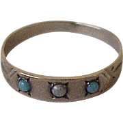 Victorian Baby Ring 10K Gold Persian Turquoise & Seed Pearl