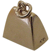 Working Cowbell Charm Three-Dimensional 14K Gold circa 1950's